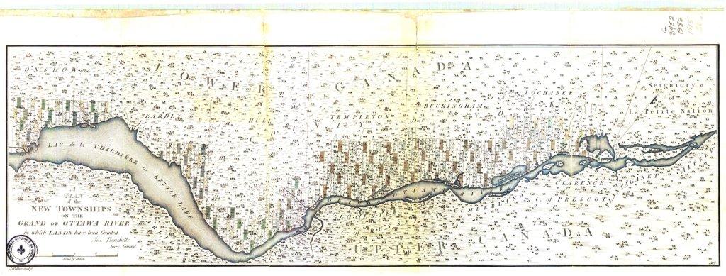 """Les cantons sur la """"Grand River"""" en 1802"""