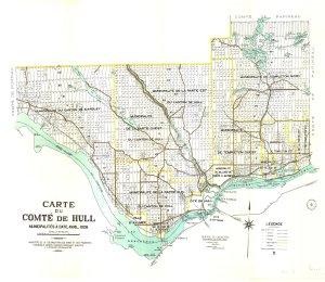 Thomas Kirk,  Carte de comté du Québec à l'échelle de 1:63 360 .   Hull , Carte du comté de Hull et Gatineau, Centre d'archives de Québec, Collection des cartes et plans de la BAnQ, Numéro d'identification : 2669884_01