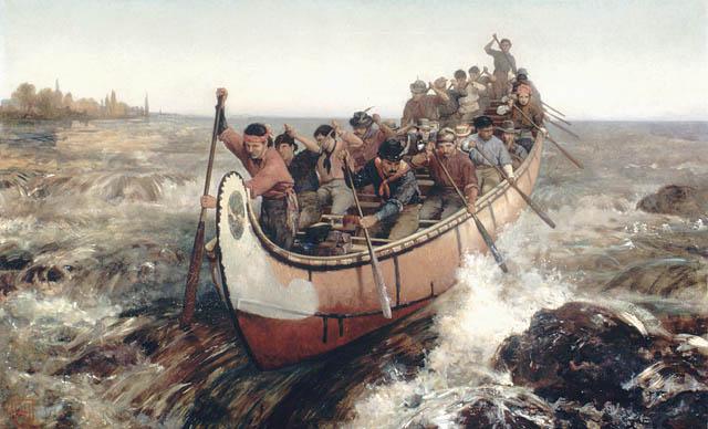 Frances Anne Hopkin, Descente des rapides, Québec (Québec ),  Collection Hopkin, Bibliothèque et Archives du Canada, 1879
