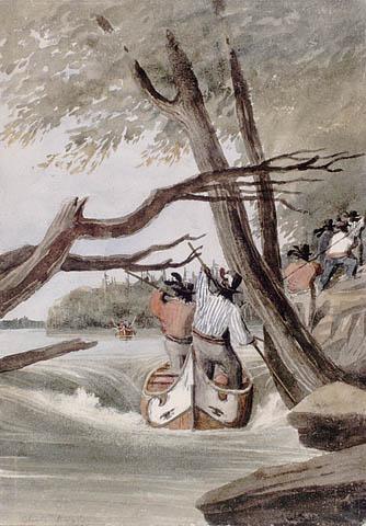 Rapides des Chats, près d'Ottawa. ca. 1838-1841. Aquarelle avec raclage sur crayon sur papier vélin. Bainbrigge, Philip John, 1817-1881. BAC- MIKAN no. 2896108.