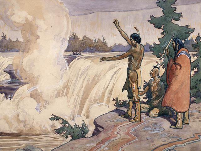 Indiens rendant hommage aux esprits de la rivière Chaudière [12 a] CRÉATEUR(S):  Jefferys, Charles William (1869-1951)  SOURCE: ICON 39151