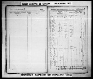 Public Archives of Canada,  Microfilm, 1955, Recensements- 1851, Number 16, sheet Recensement personnel – District de recensement, no 1, de of village Aylmer   31