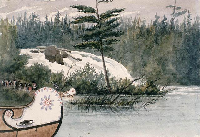 Canots de la Compagnie de la Baie d'Hudson aux rapides des Chats.  1838. Aquarelle avec raclage et touches d'encre noire sur crayon sur papier vélin. Bainbrigge, Philip John, 1817-1881. BAC- MIKAN no. 2895632