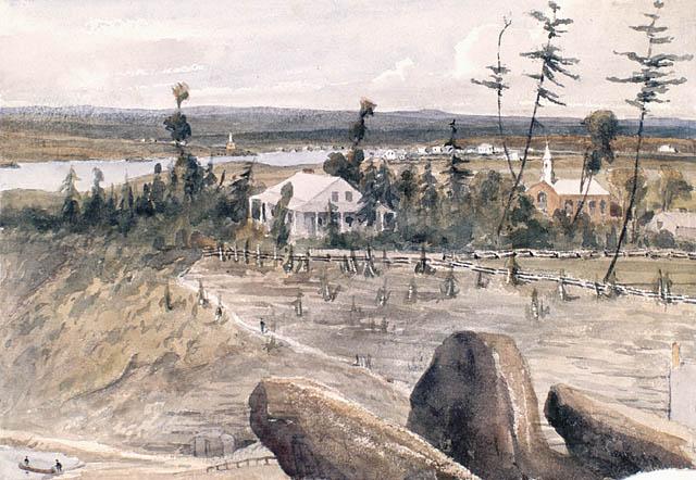 Bytown (Ottawa) mai, 1841. Aquarelle avec raclage sur crayon sur papier vélin. Bainbrigge, Philip John, 1817-1881. BAC_ MIKAN no. 2895237