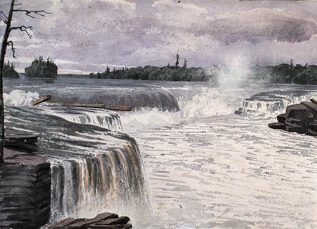 Chutes Chaudière. Juillet 1838. Aquarelle avec raclage sur crayon sur papier vélin. Bainbrigge, Philip John, 1817-1881. BAC- MIKAN no. 2896137.