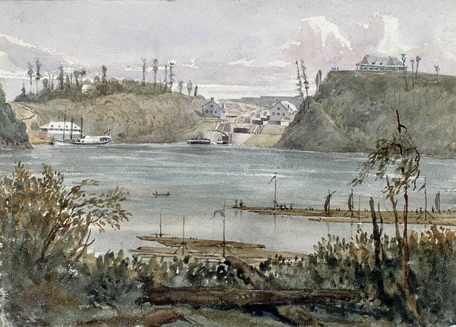 Entrée du canal Rideau, Bytown, vers 1838. Aquarelle sur crayon sur papier vélin. Bainbrigge, Philip John, 1817-1881. BAC -MIKAN no. 2896304.