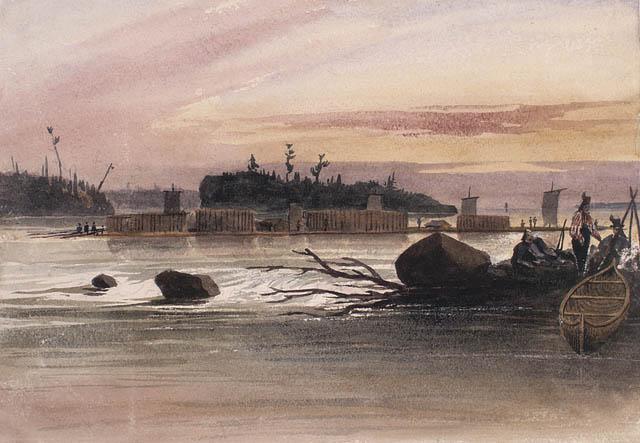 Gros radeau sur le fleuve Saint-Laurent. 1838. Aquarelle avec touches d'encre noire et raclage sur crayon sur papier vélin.  Bainbrigge, Philip John, 1817-1881. BAC- MIKAN no. 2896090.