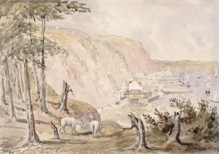 Le cap Diamant, la pointe Lévis et la Citadelle de Québec depuis l'Anse-aux-Foulons. ca 1838. Aquarelle sur crayon sur papier vélin. Bainbrigge, Philip John, 1817-1881. BAC- MIKAN no. 2897743.