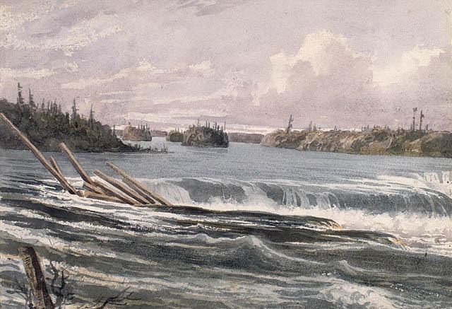 Les chutes Chaudière. ca 1836-1842. Aquarelle avec raclage sur crayon sur papier vélin. Bainbrigge, Philip John, 1817-1881. BAC- MIKAN no. 2896083.