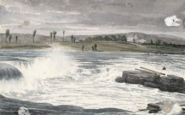 Les chutes Chaudière.  ca 1836-1842. Aquarelle avec raclage sur crayon sur papier vélin. Bainbrigge, Philip John, 1817-1881. BAC- MIKAN no. 2896084.