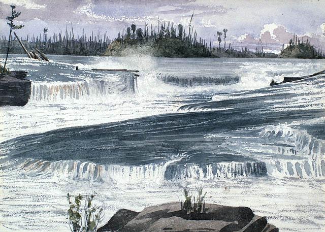 Les chutes Chaudière, vues de Bridge House, Ottawa. ca 1836-1842. Aquarelle sur crayon sur papier vélin. Bainbrigge, Philip John, 1817-1881. BAC- MIKAN no. 2896103.