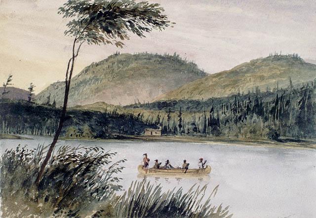 Le portage de Joachim, camp de bûcherons, près de la rivière des Outaouais.  Aquarelle sur crayon sur papier vélin. Bainbrigge, Philip John, 1817-1881. BAC- MIKAN no. 2896113