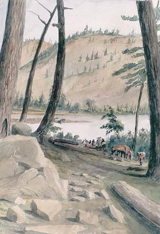 Portage le long de la rivière des Outaouais.  ca 1836-1842. Aquarelle sur crayon sur papier vélin. Bainbrigge, Philip John, 1817-1881. BAC- MIKAN no. 2895633.