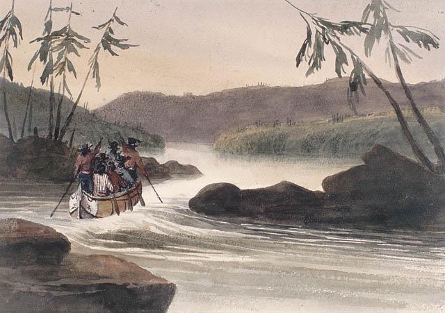 Rapides sur la rivière des Outaouais, en amont de la décharge de fer.  ca 1836-1842. Aquarelle avec pinceau et encre noire sur crayon sur papier vélin. Bainbrigge, Philip John, 1817-1881. BAC- MIKAN no. 2896081