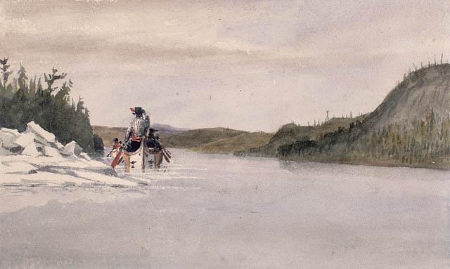 Rivière Creuse Ottawa. Mai 1841. Aquarelle sur crayon sur papier vélin. Bainbrigge, Philip John, 1817-1881. BAC- Mikan 2896117
