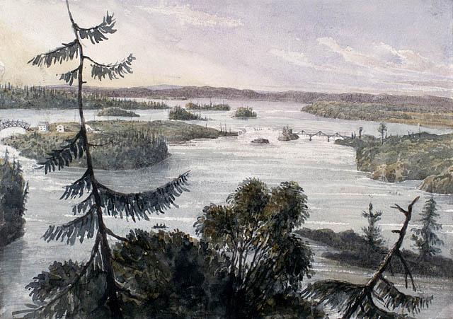Les chutes Chaudière, vues d'Ottawa. Juillet 1838. Aquarelle avec raclage et rehaussé avec gomme arabique sur crayon sur papier vélin. Bainbrigge, Philip John, 1817-1881. BAC- MIKAN no. 2896132.