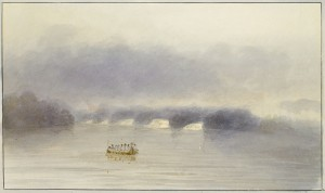Les chutes au Chat sur l'Outaouais. 1821. John Elliott Woolford (1778-1866). Musée des beaux-arts du Canada, 42324.80.