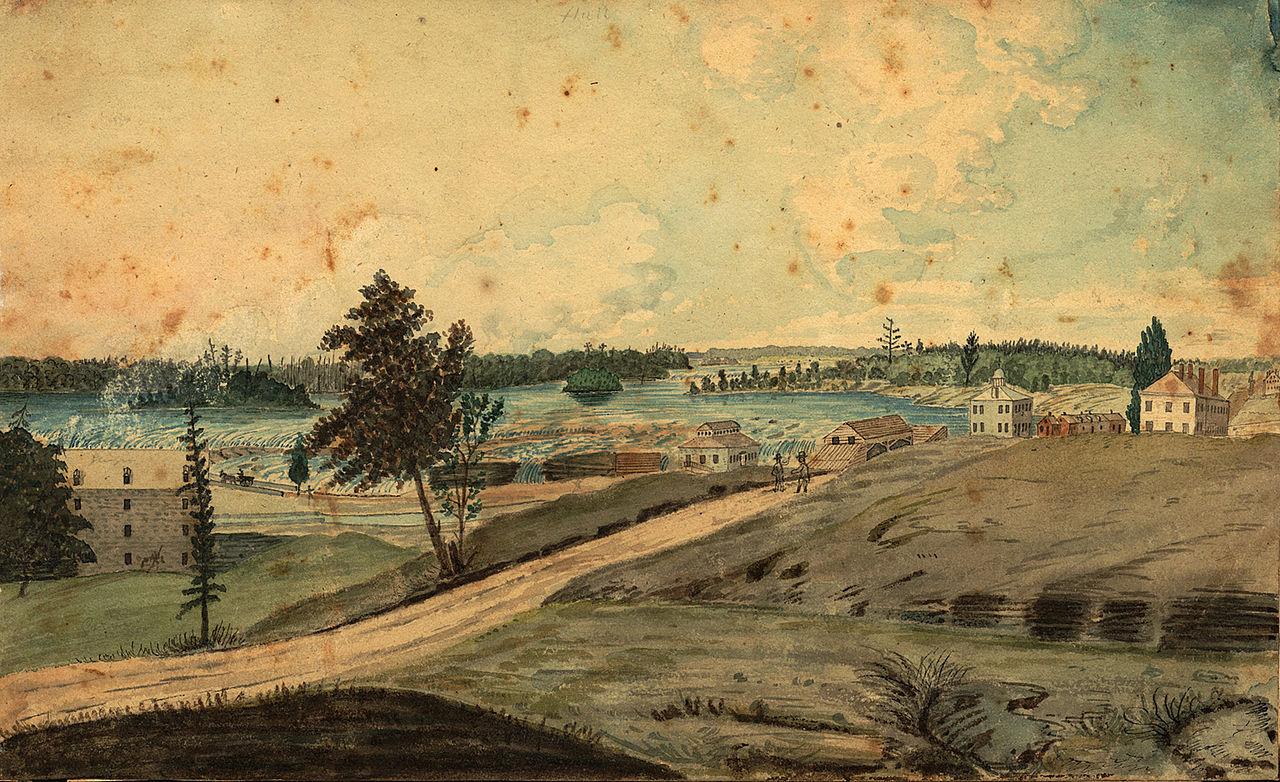 Hull, Bas-Canada Vue sur la rivière des Outaouais à la chute des Chaudières.En arrière plan, on aperçoit les fermes riveraines le long du chemin d'Aylmer. (1830) Source : Archives of Ontario, C 10006. Thomas Burrowes fonds. Hull, on the Chaudière Falls [1830].