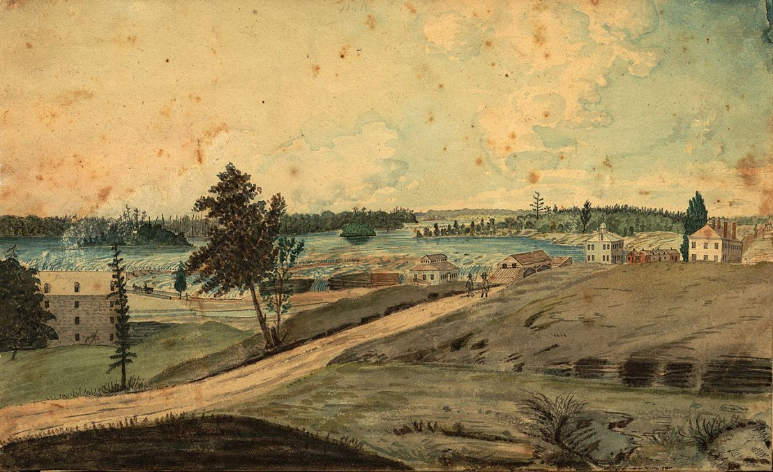 Hull, Bas-Canada Vue sur la rivière des Outaouais à la chute des Chaudières.En arrière plan, on aperçoit les fermes riveraines le long du chemin d'Aylmer. (1830) Source : Archives of Ontario, C 10006. Thomas Burrowes fonds. Hull, on the Chaudière Falls [1830].