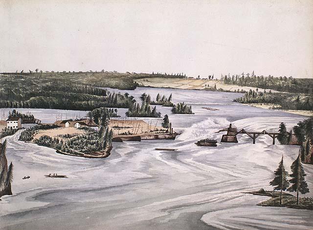 Les chutes des Chaudières et le pont sur la rivière Outaouais, Bytown (Ottawa)- Bibliothèque et Archives Canada, c00050, MIKAN 2895118