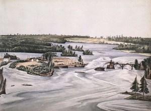 Les chutes de la Chaudière et le pont sur la rivière Outaouais, Bytown (Ottawa)- Bibliothèque et Archives Canada, c00050, MIKAN 2895118