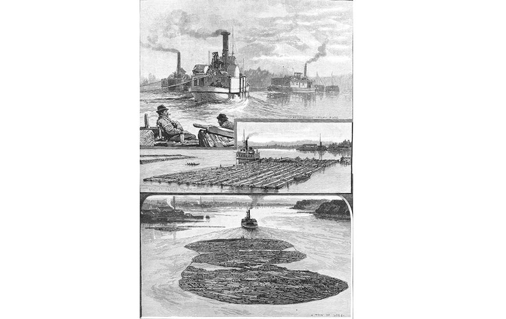 Bateaux à vapeur à la chute des Chaudières