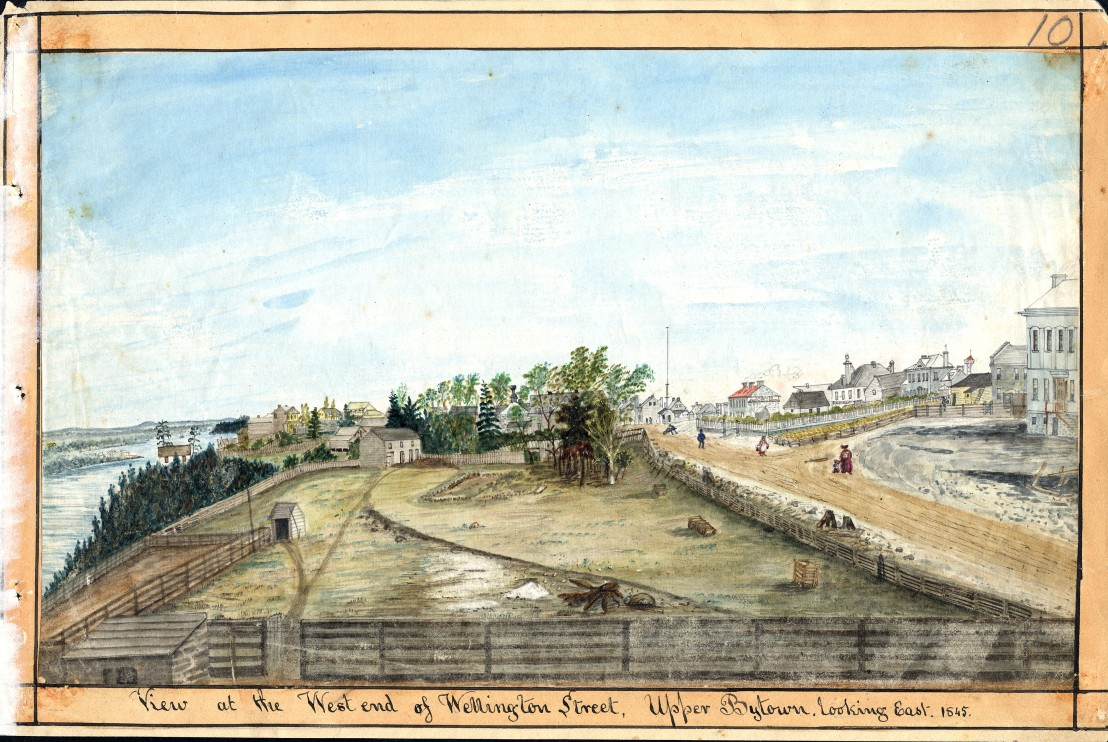 View from Wellington Street, Upper Bytown ca. 1845.  Thomas Burrowes, Painting of a view from Wellington Street, Upper Bytown, ca. 1845. Thomas Burrowes fonds.  Archives of Ontario, C 1-0-0-0-10.