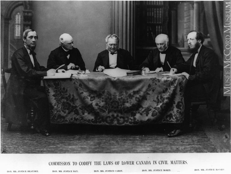 Commission ayant pour mandat de codifier les lois du Bas-Canada (vers 1865). De gauche à droite : Joseph Ubald Beaudry, Charles Dewey Day, René-Édouard Caron, Augustin-Norbert Morin et Thomas McCord. Musée McCord  MP-0000.1815.2