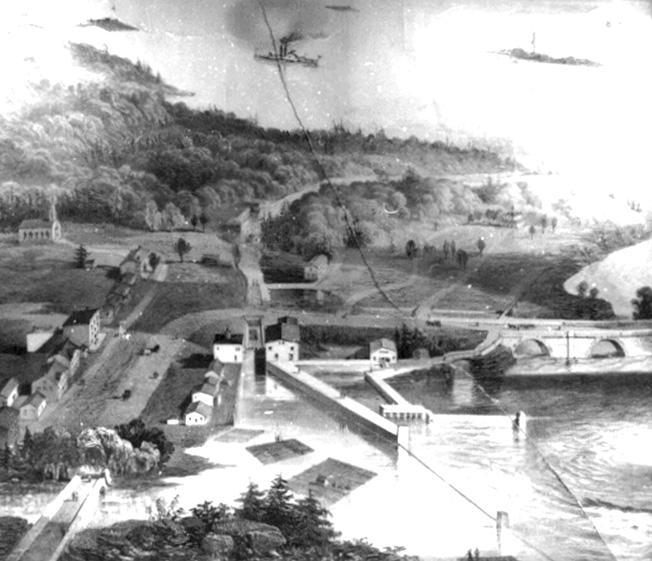 Extrait de la gravure de Stent et Laver de 1877-Pont de l'Union (pont des Chaudières), En bas à gauche de l'image, il est possible de voir la route macadamisée : chemin d'Aylmer.