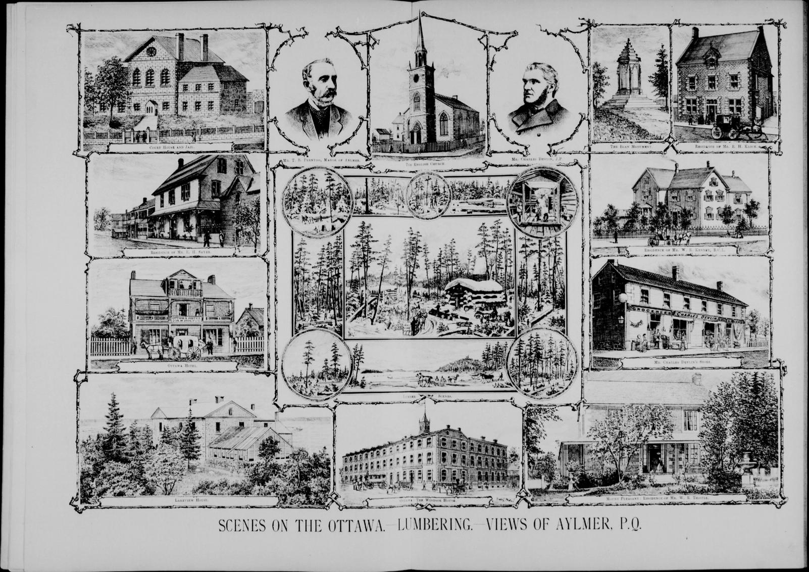 Scenes on the Ottawa. Lumbering. Views of Aylmer, P.Q. vol.XVIII, no. 10. 152-153