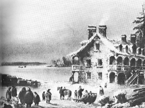 L'auberge Symmes. Gravure par W. H. Bartlett, 1842.  (Source - collection privée)